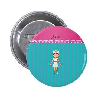 Custom name nurse turquoise stripes pink stripe 6 cm round badge
