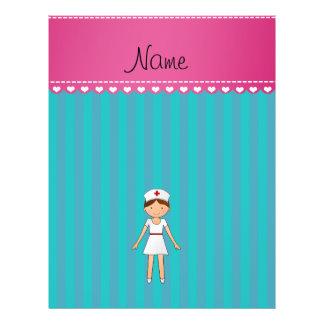 Custom name nurse turquoise stripes pink stripe full color flyer