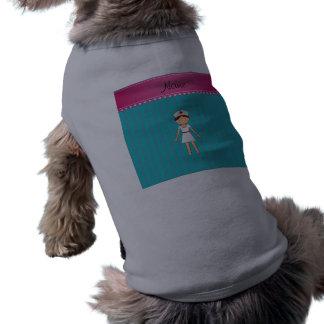 Custom name nurse turquoise stripes pink stripe sleeveless dog shirt