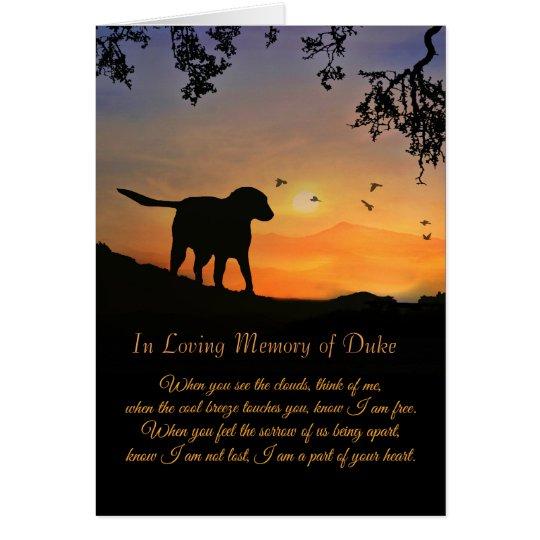 Custom Name of Dog Sympathy Card, Loss of