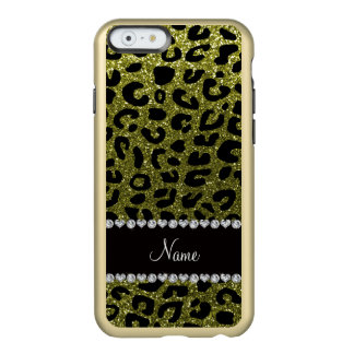 Custom name olive green glitter cheetah print incipio feather® shine iPhone 6 case