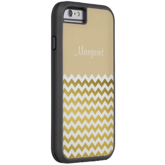 Custom Name On Andover Cream, Gold & White Chevron Tough Xtreme iPhone 6 Case