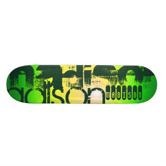 Custom Name on Neon Yellow & Green Skateboard Deck