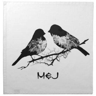 Custom Name or Monogram Love Birds Printed Napkin