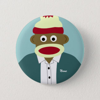 Custom Name or Monogram Sock Monkey Boy 6 Cm Round Badge