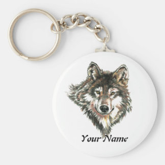 Custom Name or Text Wolf Logo watercolor Animal Key Ring