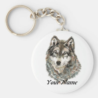 Custom Name or Text Wolf watercolor Animal Basic Round Button Key Ring