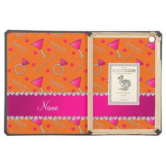 Custom name orange bachelorette cocktails rings iPad air cover