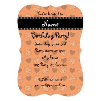 "Custom name orange basketballs and hearts 5"" x 7"" invitation card"