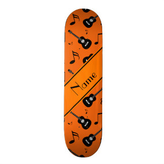 Custom name orange black guitars music notes 19.7 cm skateboard deck