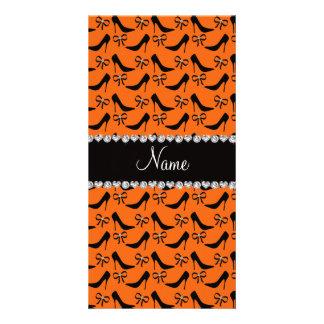 Custom name orange black high heels bow diamond personalized photo card