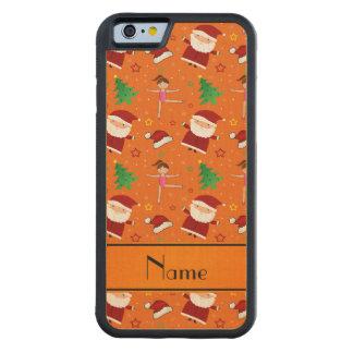 Custom name orange christmas gymnastics santas carved® maple iPhone 6 bumper
