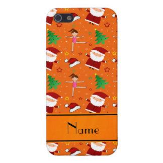 Custom name orange christmas gymnastics santas covers for iPhone 5