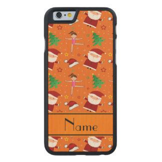 Custom name orange christmas gymnastics santas carved® maple iPhone 6 slim case