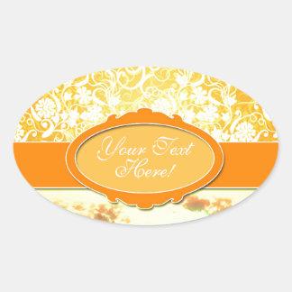 Custom Name Orange Girly Pattern Flowers and Sky Sticker
