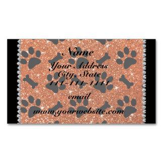 Custom name orange glitter bones dog paws magnetic business cards