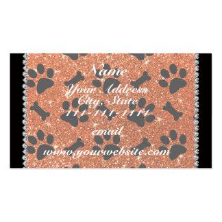 Custom name orange glitter bones dog paws pack of standard business cards