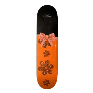 Custom name orange glitter flowers bow skate deck