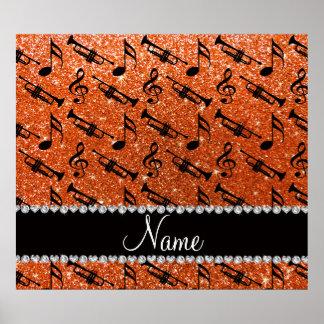 Custom name orange glitter trumpets music notes print