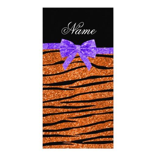 Custom name orange glitter zebra stripes bow photo card