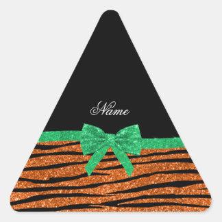Custom name orange glitter zebra stripes green bow stickers