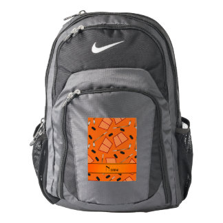 Custom name orange hockey sticks pucks nets backpack