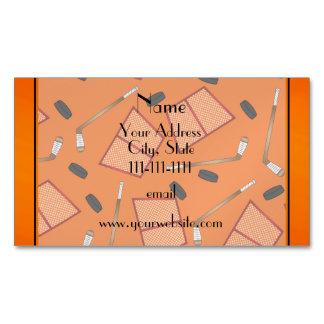 Custom name orange hockey sticks pucks nets magnetic business cards