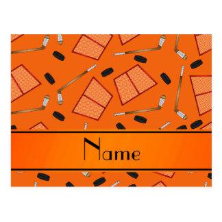 Custom name orange hockey sticks pucks nets postcard