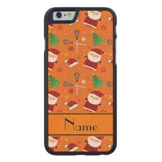 Custom name orange lacrosse christmas pattern carved® maple iPhone 6 slim case