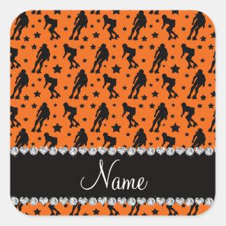 Custom name orange roller derby stars square sticker