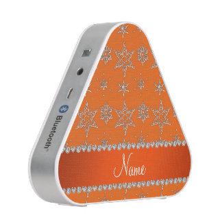 Custom name orange silver snowflakes orange stripe bluetooth speaker