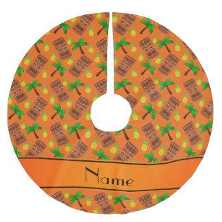 Custom name orange tiki pineapples palm trees brushed polyester tree skirt