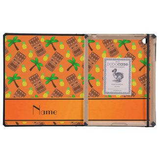 Custom name orange tiki pineapples palm trees covers for iPad