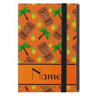 Custom name orange tiki pineapples palm trees iPad mini covers