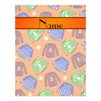 Custom name orange ugly christmas sweater pattern 21.5 cm x 28 cm flyer