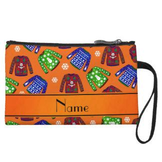 Custom name orange ugly christmas sweater pattern wristlets