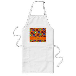 Custom name orange ugly christmas sweater pattern long apron