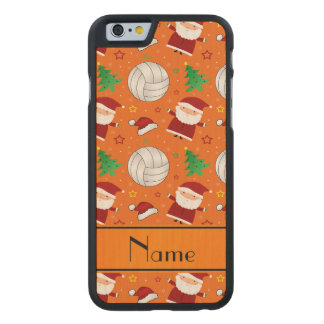 Custom name orange volleyball christmas pattern carved® maple iPhone 6 case
