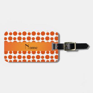 Custom name orange volleyball pattern luggage tag
