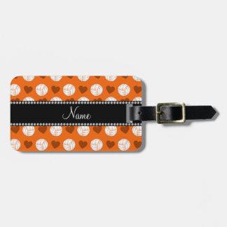 Custom name orange volleyballs and hearts bag tag