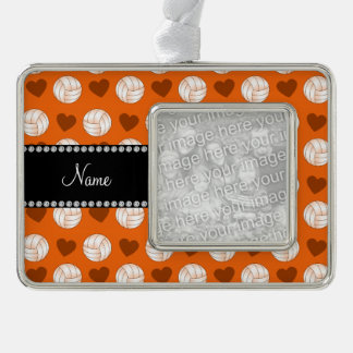 Custom name orange volleyballs and hearts silver plated framed ornament