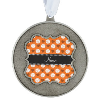 Custom name orange volleyballs and hearts scalloped ornament