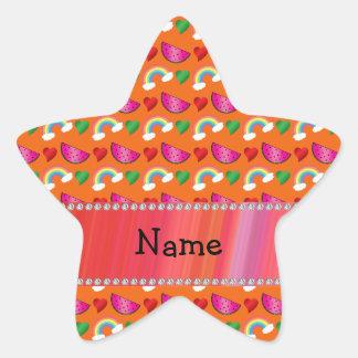 Custom name orange watermelons rainbows hearts star sticker