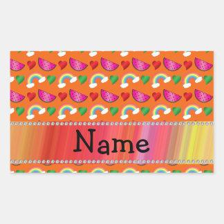Custom name orange watermelons rainbows hearts rectangular sticker