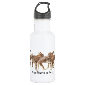Custom Name Original Watercolor Wolf Pups 532 Ml Water Bottle