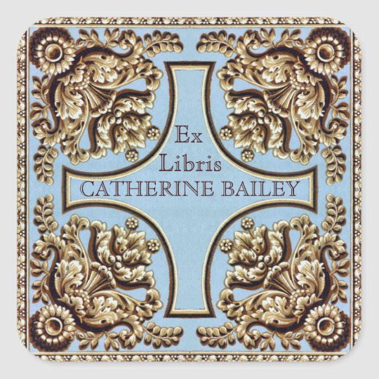 Custom Name Ornate Victorian Ex Libris Stickers