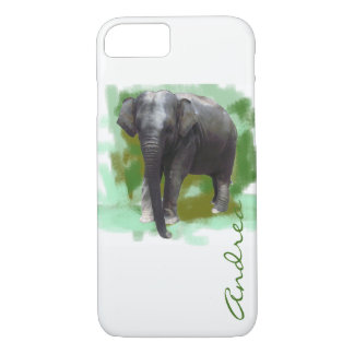 Custom Name Painted Green Cute Elephant iPhone 8/7 Case