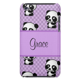 Custom Name Panda Bears on Purple Gingham iPod Touch Case