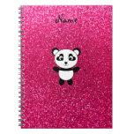 Custom name panda pink glitter note books