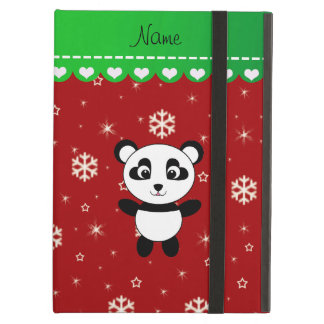 Custom name panda red snowflakes green stripe cover for iPad air